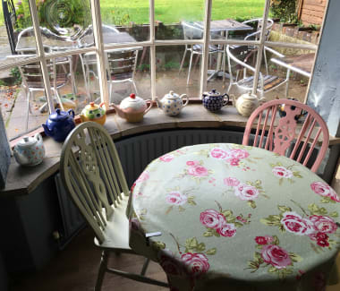 Table at the window in the tea rooms