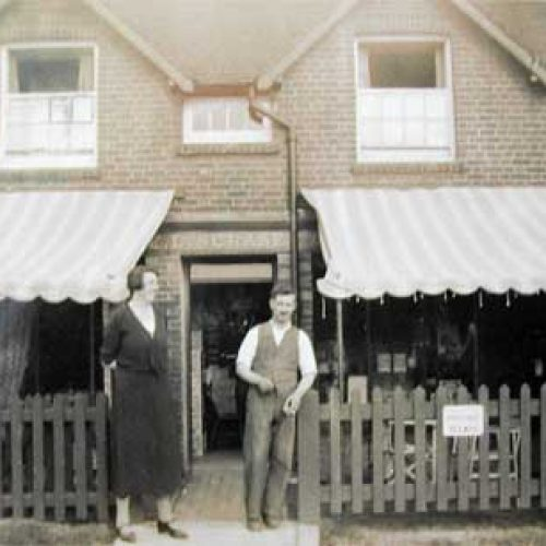 Owners in 1935 standing outside the Tea Rooms